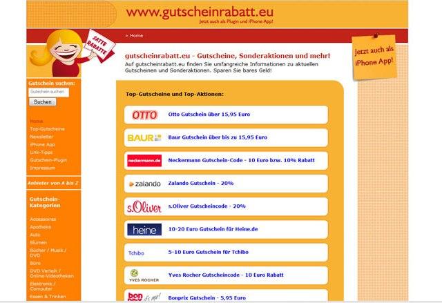 Die Webseite gutscheinrabatte.eu bietet viele Rabatt-Gutscheine an