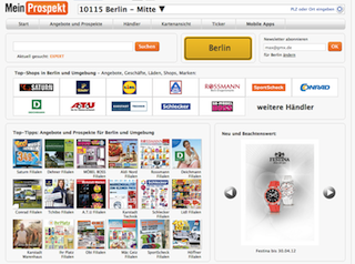 Screenshot der Website Meinprospekt.de