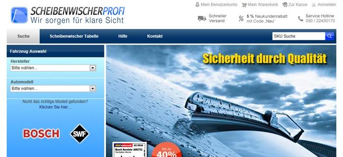 Die Webseite Scheibenwischer-Profi.de im Portrait